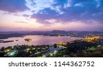 udaipur city at lake pichola in ... | Shutterstock . vector #1144362752