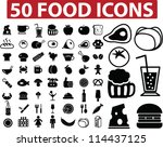 50 Food Icons Set  Vector