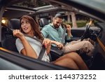young attractive couple is...   Shutterstock . vector #1144373252