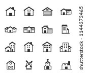house and buildings icons ... | Shutterstock .eps vector #1144373465