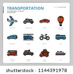 transportation icon set | Shutterstock .eps vector #1144391978