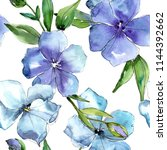 Watercolor blue flax flower. Floral botanical flower. Seamless background pattern. Fabric wallpaper print texture. Aquarelle wildflower for background, texture, wrapper pattern, frame or border.