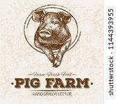 hand drawn sketch steak meat... | Shutterstock .eps vector #1144393955