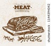 hand drawn sketch steak meat... | Shutterstock .eps vector #1144394042