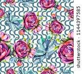 watercolor bouquet pink peony... | Shutterstock . vector #1144397585