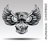 piston with wings  | Shutterstock .eps vector #1144398065
