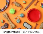 Stock photo flat lay composition with accessories for dog and cat on color background pet care 1144432958