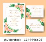 wedding tropical floral... | Shutterstock .eps vector #1144446608