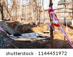 the red and white tape is wound ... | Shutterstock . vector #1144451972