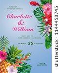 tropical hawaiian wedding... | Shutterstock .eps vector #1144453745