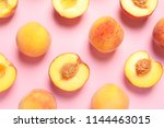 flat lay composition with ripe... | Shutterstock . vector #1144463015