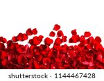 Stock photo red rose petals on white background top view 1144467428
