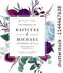 square floral label frame... | Shutterstock .eps vector #1144467638