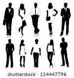 collection of people silhouettes | Shutterstock .eps vector #114447796