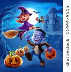 halloween night illustration | Shutterstock .eps vector #1144479515