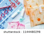 menstruation days products and... | Shutterstock . vector #1144480298