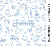seamless pattern with kids toys.... | Shutterstock .eps vector #1144482995