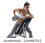 athletic woman doing exercise... | Shutterstock . vector #1144487012