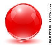glass sphere  red vector ball.  | Shutterstock .eps vector #1144487762