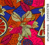 exotic print with bright fruits ... | Shutterstock .eps vector #1144503788