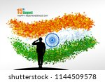 a soldier saluting to the... | Shutterstock .eps vector #1144509578