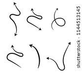 set of hand drawn black  arrow | Shutterstock .eps vector #1144513145