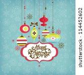 retro christmas background | Shutterstock .eps vector #114452602