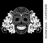 Skull And Roses  Black And...
