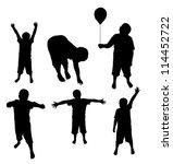 kids silhouettes | Shutterstock .eps vector #114452722