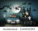 family driving in car with... | Shutterstock .eps vector #1144542392