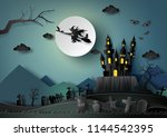 halloween party  witch riding... | Shutterstock .eps vector #1144542395