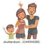 families are happy with the... | Shutterstock .eps vector #1144544282