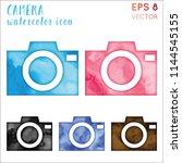 camera watercolor icon set.... | Shutterstock .eps vector #1144545155