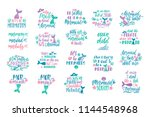 bundle of mermaid's cards.... | Shutterstock .eps vector #1144548968