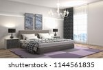 bedroom interior. 3d... | Shutterstock . vector #1144561835