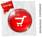 vector glossy red round button... | Shutterstock .eps vector #114456442