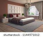 bedroom interior. 3d... | Shutterstock . vector #1144571012