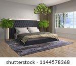 bedroom interior. 3d... | Shutterstock . vector #1144578368