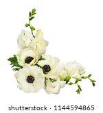white anemones and freesia... | Shutterstock . vector #1144594865