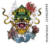 thai art traditional tattoo... | Shutterstock .eps vector #1144610945