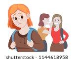 school friends gossiping behind ... | Shutterstock .eps vector #1144618958
