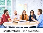 startup entrepreneurs chatting... | Shutterstock . vector #1144636058