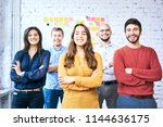 cheerful students looking at...   Shutterstock . vector #1144636175