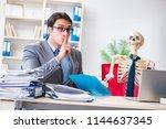 businessman working with... | Shutterstock . vector #1144637345