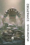 giant robot behind pile of...   Shutterstock . vector #1144639382