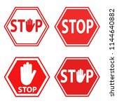 set of sign stop blocking red... | Shutterstock .eps vector #1144640882