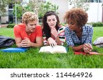 group of happy college students ... | Shutterstock . vector #114464926
