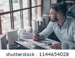 mature designer with a project... | Shutterstock . vector #1144654028
