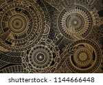 mandala movement in golden... | Shutterstock .eps vector #1144666448