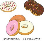 assorted donuts with chocolate... | Shutterstock .eps vector #1144676945